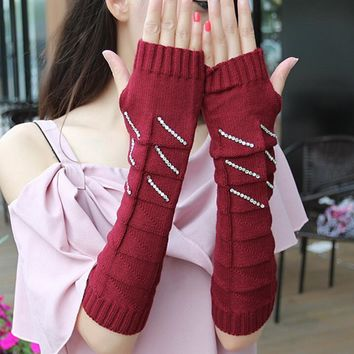 Autumn and winter women's thicken warm knitted gloves lady's medium long arm sleeve winter fingerless rhinestone glove R123