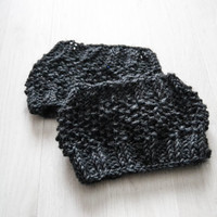 Dark gray knitted boot cuff, wool leg warmer, boot toppers, clothing accessories, women and teen clothing