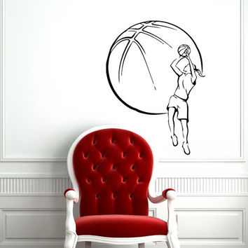 Female Girl Basketball Player with Ball Sport Wall Vinyl Decal Sticker Housewares Design Murals Interior Decor Home Bedroom SV5226
