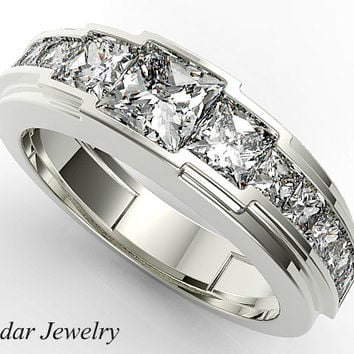 Mens Wedding Band,Diamond Mens Wedding Band,Unique Wedding Band,Princess  Diamond Wedding