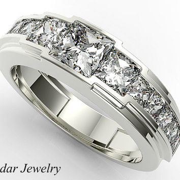 Mens Wedding Band Diamond Unique Princess