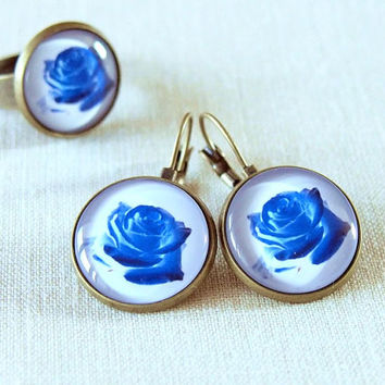 Blue Rose Jewelry Set, Unique Graphic Photo Handmade Vintage Floral Jewelry Set Flower Big Large Earrings and Ring, Unique Gift for Her