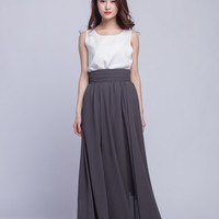 High Waist Long Skirt Chiffon Maxi Skirts Beautiful Pleated Waist Summer Skirt Floor Length Women Skirt (401) ,49#