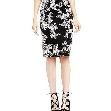 Vince Camuto Delicate Foliage Scuba Pencil Skirt | Dillards