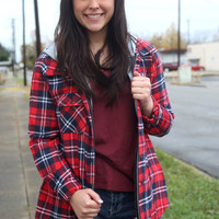 Southern Plaid Button Up {Red/Navy/White}