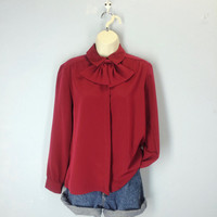 Vintage 70s Red Blouse, Secretary Blouse, Burgundy Ascot Blouse, Librarian Blouse, 1970s Blouse, Bow Blouse