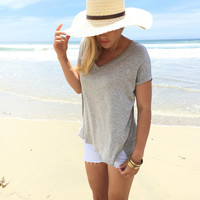 Jersey V-Neck Top In Grey