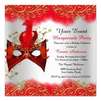 "Red Silver Gold Mask Masquerade Birthday Party 5.25"" Square Invitation Card"