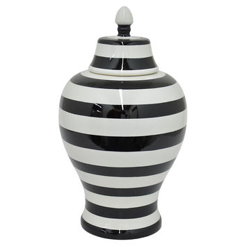 "18"" Striped Urn, Black/White, Indoor Urns"