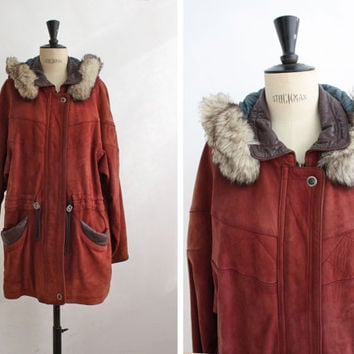 Burgundy Leather and Suede Faux Fur Parka, Red Eskimo Jacket, Hoodie Coat, Jacket with Hood / Oversized / Medium to Large