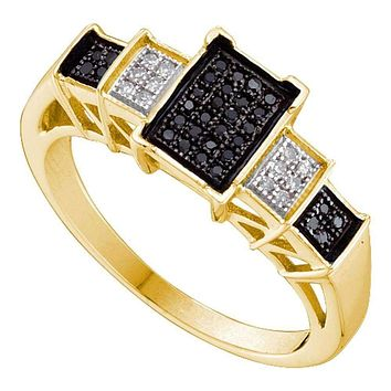 10kt Yellow Gold Women's Round Black Color Enhanced Diamond Rectangle Cluster Ring 1/6 Cttw - FREE Shipping (US/CAN)