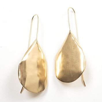 Brass Solid Organic Drop Earrings