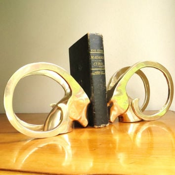 Vintage Brass Antelope Bookends, Art Deco, Ram Bookends, Gazelle, Impala, Deer, Mid Century Modern Bookends, Minimalist