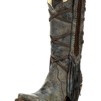Women's Cowhide Snip Toe Boot with Overlay Embroidery and Studs - A3147