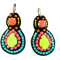 CONFETTI soutache earrings in black, neon pink, lime green, turquoise, orange and yellow