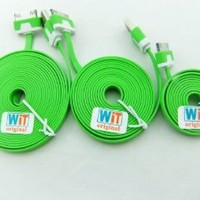 3pcs/lot 3in1 3ft 6ft 2m 10ft Extra Long Noodle Flat USB Charger Cable Cords for Iphone 4 4s Ipod Touch 4 Nano 6 (green)
