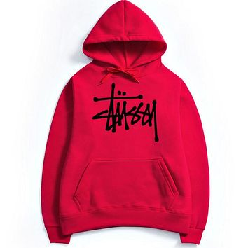 Stussy Letters hooded top couple casual basketball sweater Red