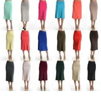 Sexy Jersey Knit Slim Pencil Band Waist Stretch A-Line Knee Length Maxi Skirt