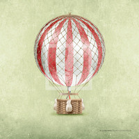 Classic Vintage Style Red Hot Air Balloon Room 8x8 Wall Art Print by Caramel Expressions