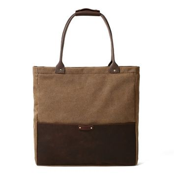 Handmade Waxed Canvas & Leather Tote Handbag