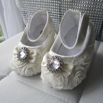 Baby Crib Shoes, Ivory, Satin, Rosette, Baby Shoes, Baptism Shoes, Wedding, Christening Shoes, Sparkle, Fancy Shoes, Soft Shoes, Easter