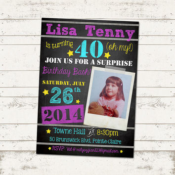 40th Birthday Invitation - The Big 4-0 Retro Chalkboard with Polaroid - Adult Birthday Parties - 30, 40, 50. ANY age, Custom Design
