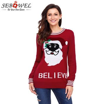 SEBOWEL Santa Pattern Christmas Ugly Sweater Knitted Woman Pullovers 2018 Autumn Winter Warm Sweaters for Female Xmas Clothing