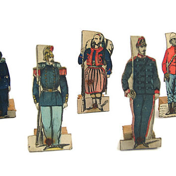 1800s French toys Napoleon III. Wood and Card-Mounted Epinal Paper Soldiers. Lot 2.
