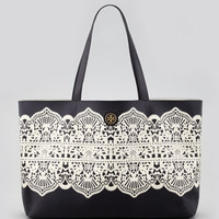 Kerrington East/West Tote Bag, Black Lace