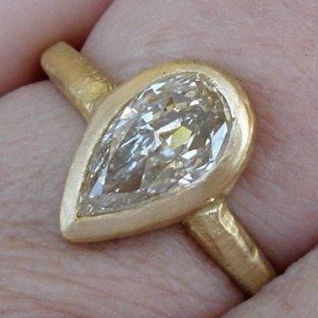 1 Carat Pear Diamond Engagement Ring - Minimalist Bezel Set Ring in 18K Matte Yellow Gold by Luxinelle® Jewelry