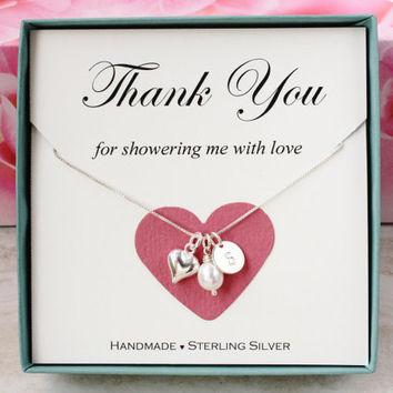 Bridal Shower Hostess Gift For Baby Shower Hostess Thank You Gift For  Friend Sterling Silver Inital