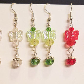 wholesale jewelry lot butterfly earrings bead drops dangles earring lot red green clear 3pc beaded handmade jewelry bulk deal