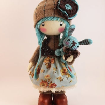 Doll Zooey brown and turquoise rag doll cloth doll textile doll