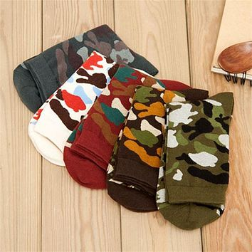 Medium Tube Socks For Mens Camouflage Leisure Autumn Winter Cotton Socks Suits Accessories Male Elastic Sock
