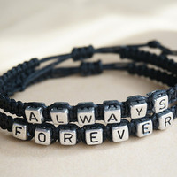 Couples bracelet Set, Alawys Forever Bracelet,Silver Black His Her Bracelet ,Personalized Jewelry , Anniversary Gifts,Valentine's day gifts