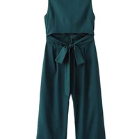 Green Open Belly Bowknot Detail Cropped Wide Leg Jumpsuit