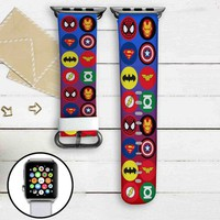 MArvel and DC Comics Superheroes Logo Custom Apple Watch Band Leather Strap Wrist Band Replacement