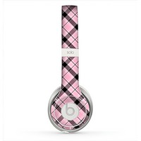 The Pink & Black Plaid Skin for the Beats by Dre Solo 2 Headphones