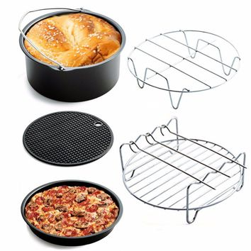 New 5 pcs/set Cookware Sets Home Air Frying Pan Accessories Stainless Steel Fryer Baking Basket Pizza Plate Grill Pot Mat