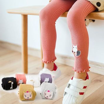 Girls Tights Chic Embroidered Animal Patterned Pantyhose Stretch Knitting Stocking