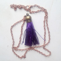 Silk Dark Purple Tassel Necklace with 24 inch Copper Chain, Gift Box Included