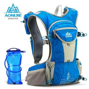 CREY3F AONIJIE  Running Nylon Backpack 12L Lightweight Hydration Water Pack Sport Bag Outdoor Climbing Hiking Cycling + Water Bag 2L