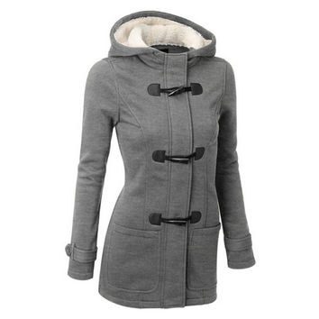 Autumn Winter Women Thick Wool Coat Hoodie Jacket Parka Trench Peacoat Double Breasted Warm Clothes 4 Colors