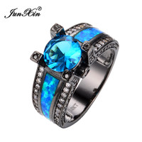 Size 6/7/8/9 Women Jewelry Ocean Blue Opal Engagement Rings Light Blue/White CZ 10KT Black Gold Filled Wedding Ring