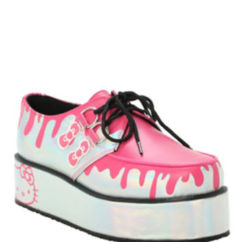 T.U.K. Hello Kitty Drips Holographic Silver Wrap Creepers