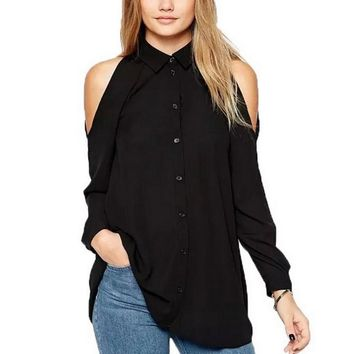 Chicloth Off the Shoulder High Collar Blouse