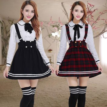 Long sleeve Japanese School Uniform for girls Students Sweet clothes Plus size Two-piece Navy Straps skirt +White Shirt