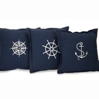 Set of 3 Nautical Embroidered Navy Blue Square Throw Pillows 14""