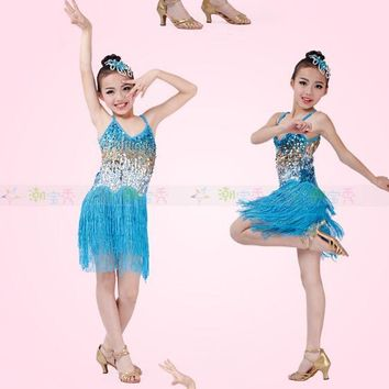 4 color Stage tassel pink gold blue black fashion rumba latin dance dress tango samba 110-160cm professional girl child costume