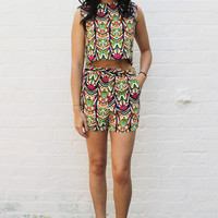 Aztec Tribal Print Crop Top & High Waisted Shorts Co-ord Set in Multi